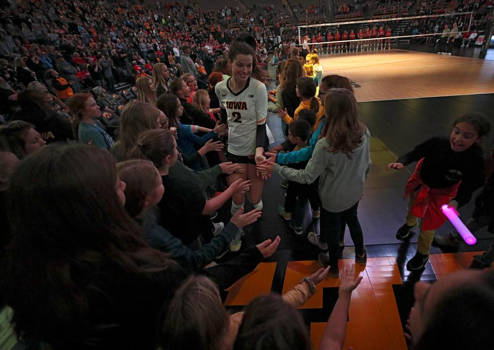 Iowa's Courtney Buzzerio (2) is introduced before their match against Nebraska at Carver-Hawkeye Arena in Iowa City on Saturday, Nov 9, 2019. (Stephen Mally/hawkeyesports.com)