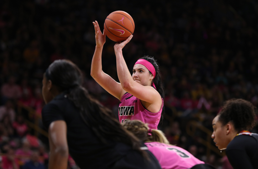 Iowa Hawkeyes forward Megan Gustafson (10) shoots free throws against the seventh ranked Maryland Terrapins Sunday, February 17, 2019 at Carver-Hawkeye Arena. (Brian Ray/hawkeyesports.com)