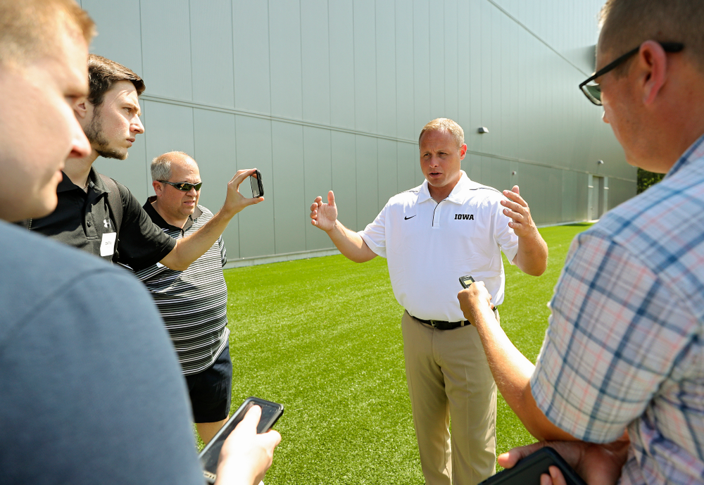 Iowa Hawkeyes linebackers coach Seth Wallace answers questions during Iowa Football Media Day at the Hansen Football Performance Center in Iowa City on Friday, Aug 9, 2019. (Stephen Mally/hawkeyesports.com)