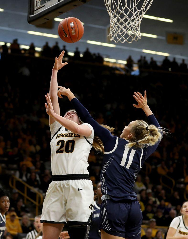 Iowa Hawkeyes guard Kate Martin (20) against Penn State Saturday, February 22, 2020 at Carver-Hawkeye Arena. (Brian Ray/hawkeyesports.com)