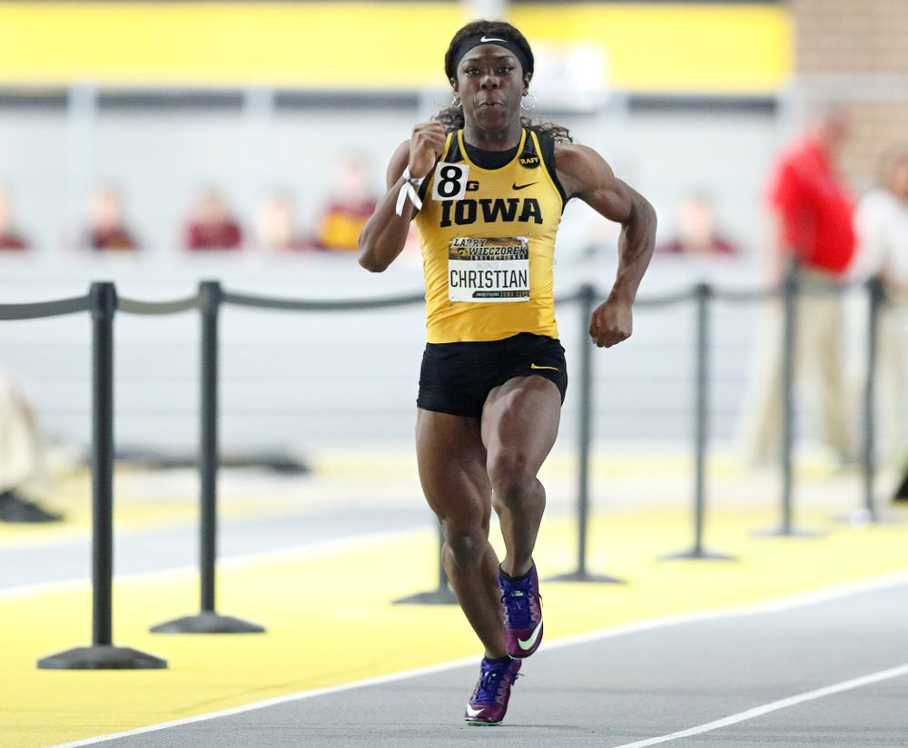 Iowa's Antonise Christian runs the women's 60 meter dash premier preliminary event during the Larry Wieczorek Invitational at the Recreation Building in Iowa City on Saturday, January 18, 2020. (Stephen Mally/hawkeyesports.com)