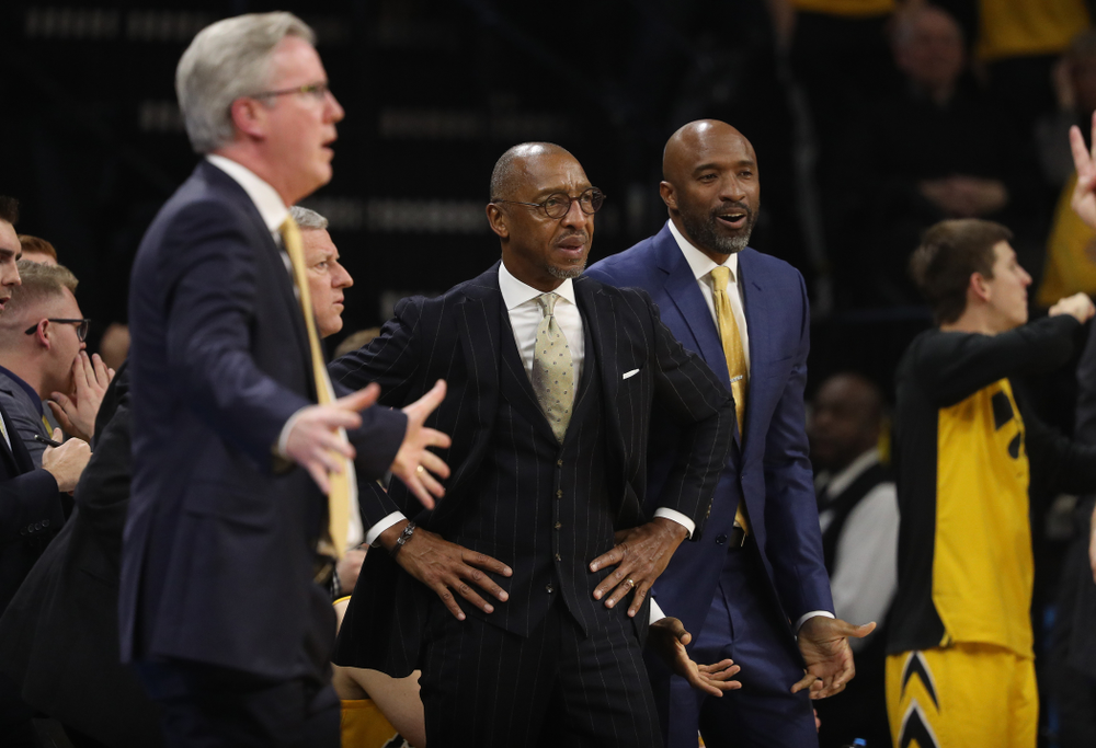 Iowa Hawkeyes assistant coaches Sherman Dillard against the Wisconsin Badgers Friday, November 30, 2018 at Carver-Hawkeye Arena. (Brian Ray/hawkeyesports.com)