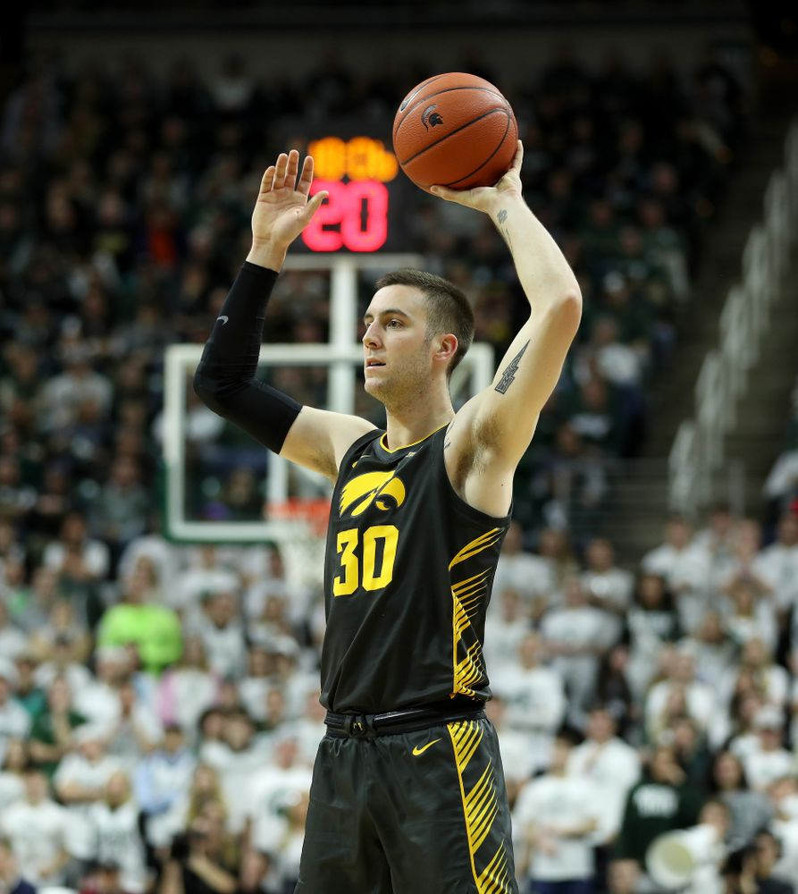 Iowa Hawkeyes guard Connor McCaffery (30) against Michigan State Tuesday, February 25, 2020 at the Breslin Center in East Lansing, MI. (Brian Ray/hawkeyesports.com)