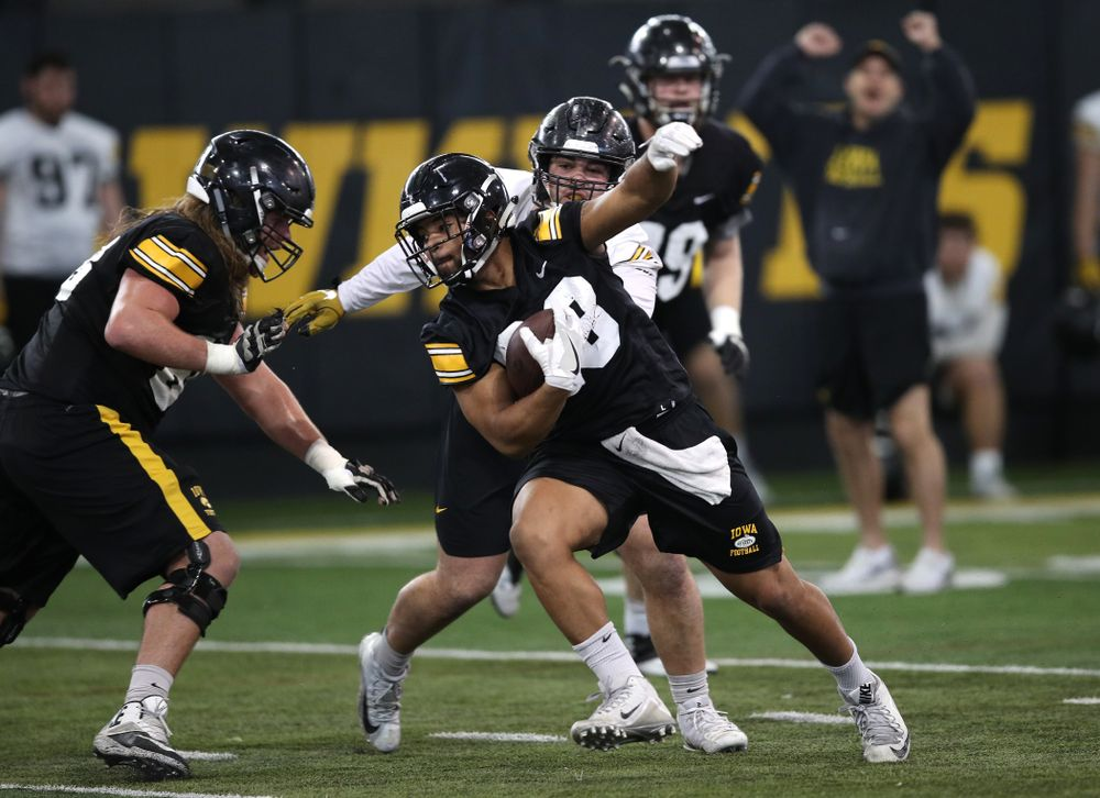 Iowa Hawkeyes running back Toren Young (28) during preparation for the 2019 Outback Bowl Tuesday, December 18, 2018 at the Hansen Football Performance Center. (Brian Ray/hawkeyesports.com)