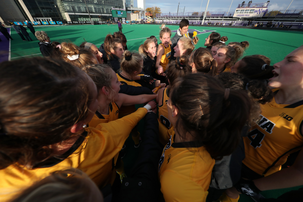 The Iowa Hawkeyes celebrate their victory against the Michigan Wolverines in the semi-finals of the Big Ten Tournament Friday, November 2, 2018 at Lakeside Field on the campus of Northwestern University in Evanston, Ill. (Brian Ray/hawkeyesports.com)