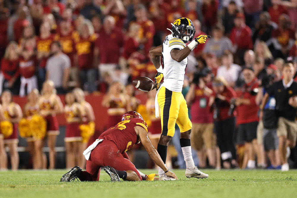 Iowa Hawkeyes wide receiver Ihmir Smith-Marsette (6) signals for a first down against the Iowa State Cyclones Saturday, September 14, 2019 in Ames, Iowa. (Brian Ray/hawkeyesports.com)