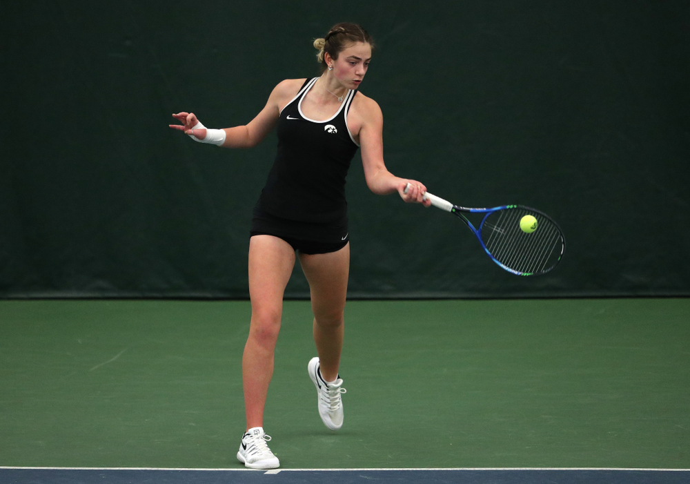 Iowa's Sophie Clark against the Penn State Nittany Lions Sunday, February 24, 2019 at the Hawkeye Tennis and Recreation Complex. (Brian Ray/hawkeyesports.com)