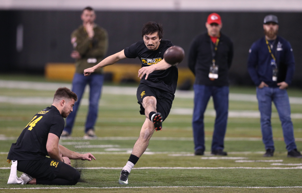 Iowa Hawkeyes place kicker Miguel Recinos (91) during the teamÕs annual Pro Day Monday, March 25, 2019 at the Hansen Football Performance Center. (Brian Ray/hawkeyesports.com)