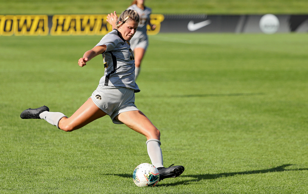 Iowa forward Gianna Gourley (32) lines up a shot during the second half of their match at the Iowa Soccer Complex in Iowa City on Sunday, Sep 1, 2019. (Stephen Mally/hawkeyesports.com)