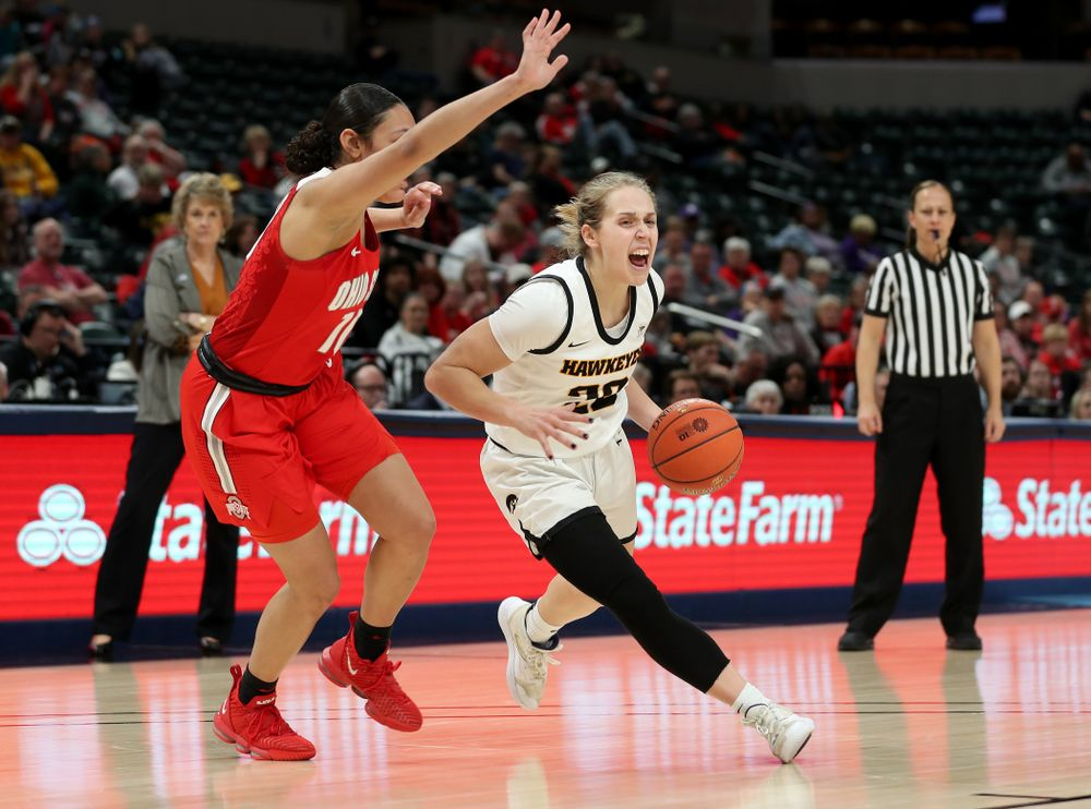 Iowa Hawkeyes guard Kathleen Doyle (22) against Ohio State in the quarterfinals of the Big Ten Basketball Tournament Friday, March 6, 2020 at Bankers Life Fieldhouse in Indianapolis. (Brian Ray/hawkeyesports.com)