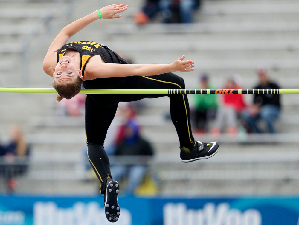 Iowa's Aubrianna Lantrip jumps in the women's high jump event during the third day of the Drake Relays at Drake Stadium in Des Moines on Saturday, Apr. 27, 2019. (Stephen Mally/hawkeyesports.com)