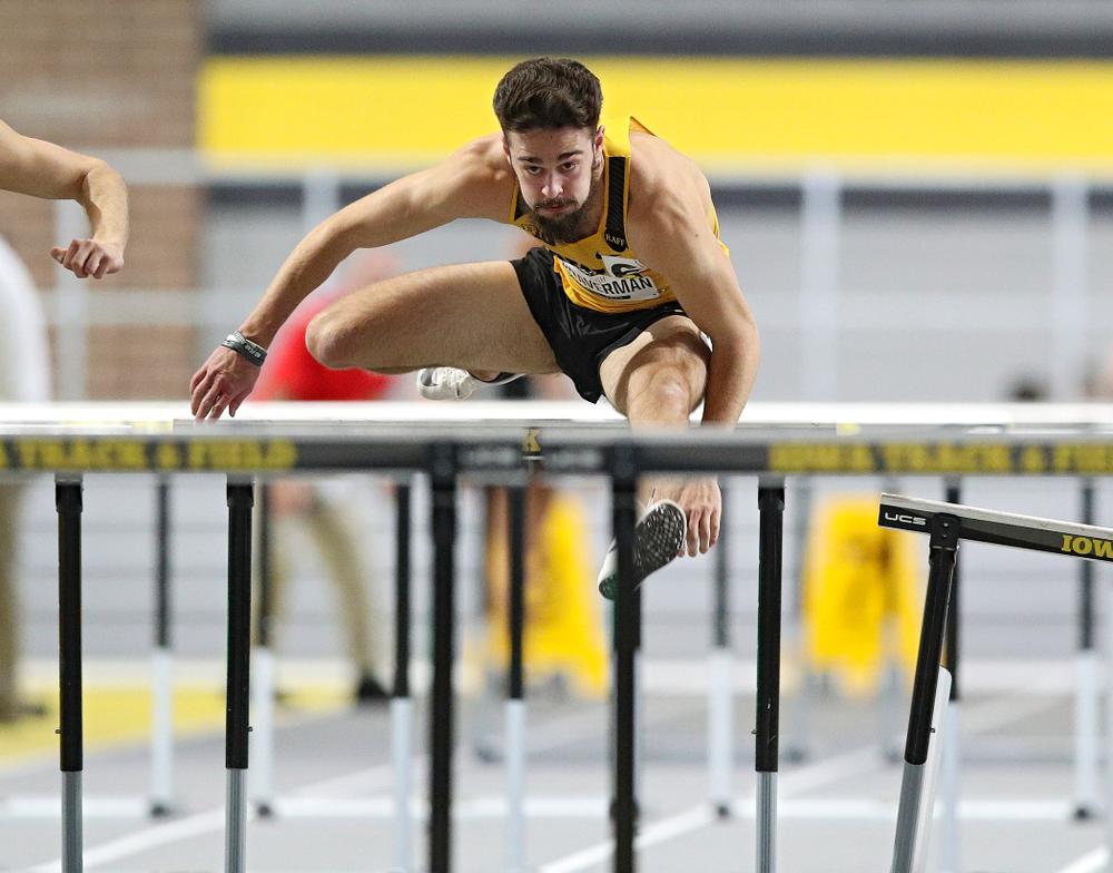 Iowa's Josh Braverman runs the men's 60 meter hurdles event during the Hawkeye Invitational at the Recreation Building in Iowa City on Saturday, January 11, 2020. (Stephen Mally/hawkeyesports.com)