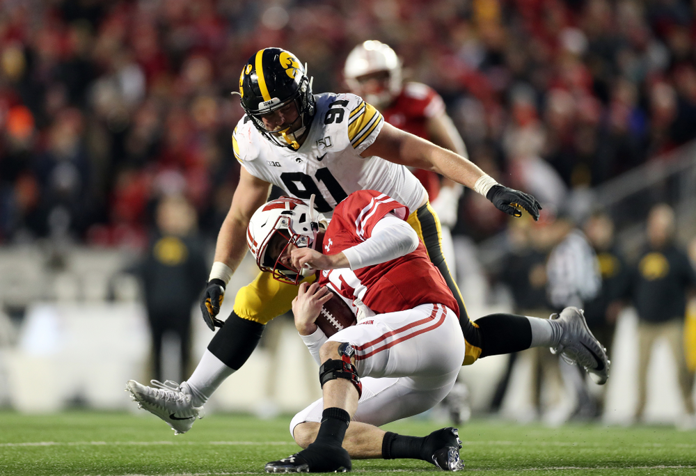 Iowa Hawkeyes defensive lineman Brady Reiff (91) against the Wisconsin Badgers Saturday, November 9, 2019 at Camp Randall Stadium in Madison, Wisc. (Brian Ray/hawkeyesports.com)