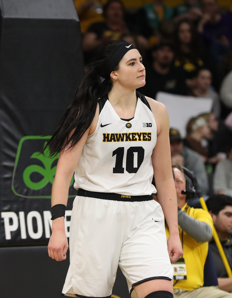 Iowa Hawkeyes forward Megan Gustafson (10 reacts after blocking a shot against the Purdue Boilermakers Sunday, January 27, 2019 at Carver-Hawkeye Arena. (Brian Ray/hawkeyesports.com)