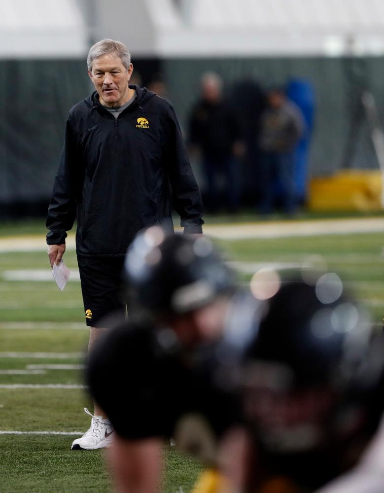 Kirk Ferentz -- University of Iowa spring football practice No. 6 on March 31, 2018, in Iowa City, Iowa. (Darren Miller/hawkeyesports.com)