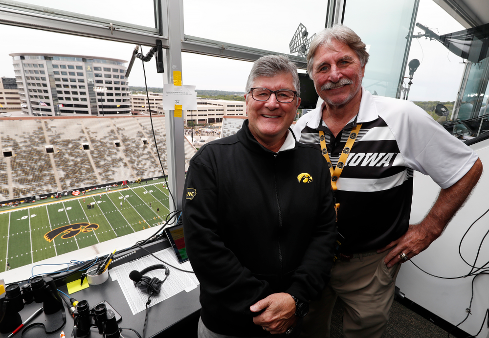 The voices of the Iowa Hawkeyes Gary Dolphin and Ed Podolak in the booth before the Hawkeyes game against the Iowa State Cyclones Saturday, September 8, 2018 at Kinnick Stadium. (Brian Ray/hawkeyesports.com)