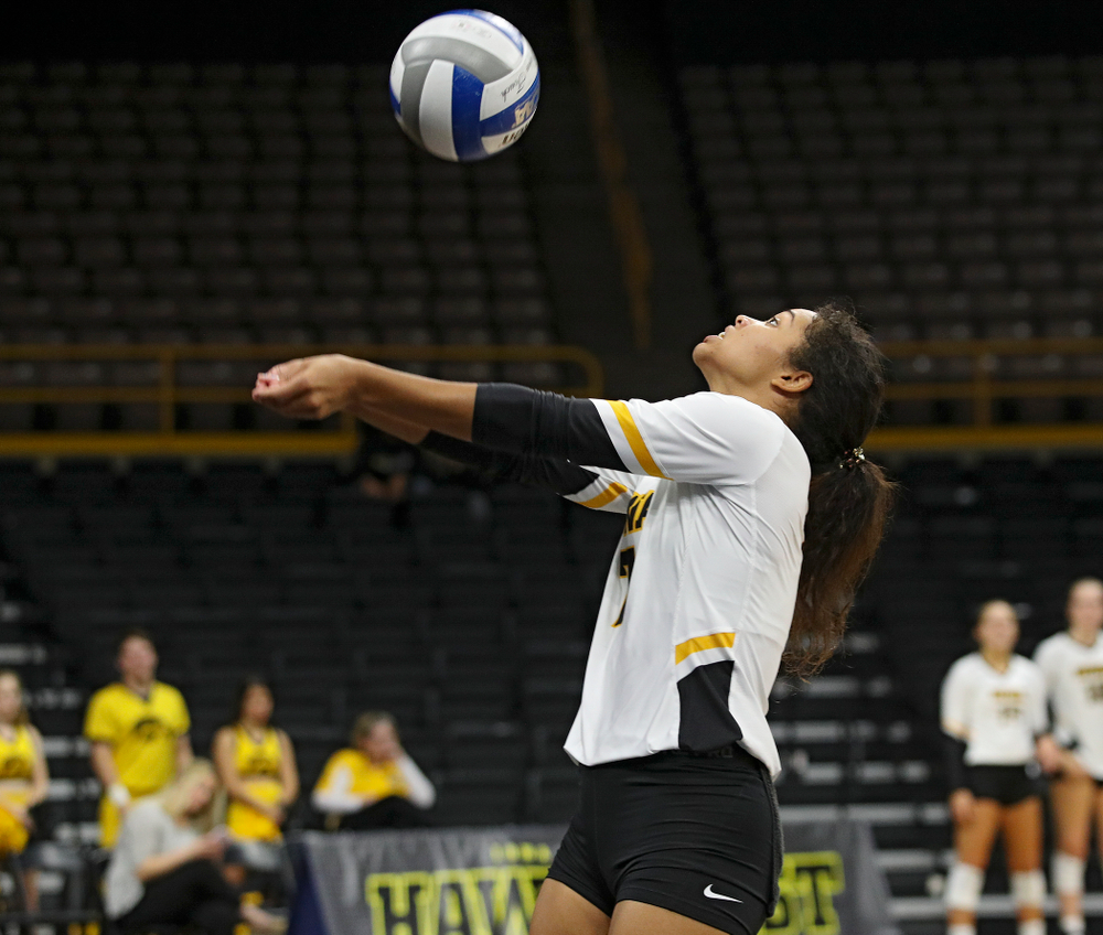 Iowa's Brie Orr (7) eyes the ball during the second set of their volleyball match at Carver-Hawkeye Arena in Iowa City on Sunday, Oct 13, 2019. (Stephen Mally/hawkeyesports.com)