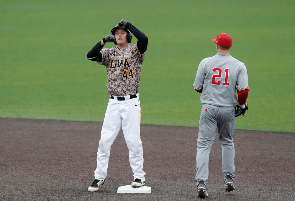 Iowa Hawkeyes outfielder Robert Neustrom (44) during a double header against the Indiana Hoosiers Friday, March 23, 2018 at Duane Banks Field. (Brian Ray/hawkeyesports.com)