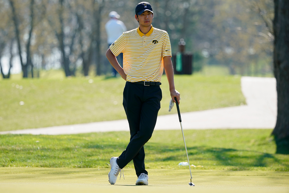 Iowa's Joe Kim waits to putt during the third round of the Hawkeye Invitational at Finkbine Golf Course in Iowa City on Sunday, Apr. 21, 2019. (Stephen Mally/hawkeyesports.com)