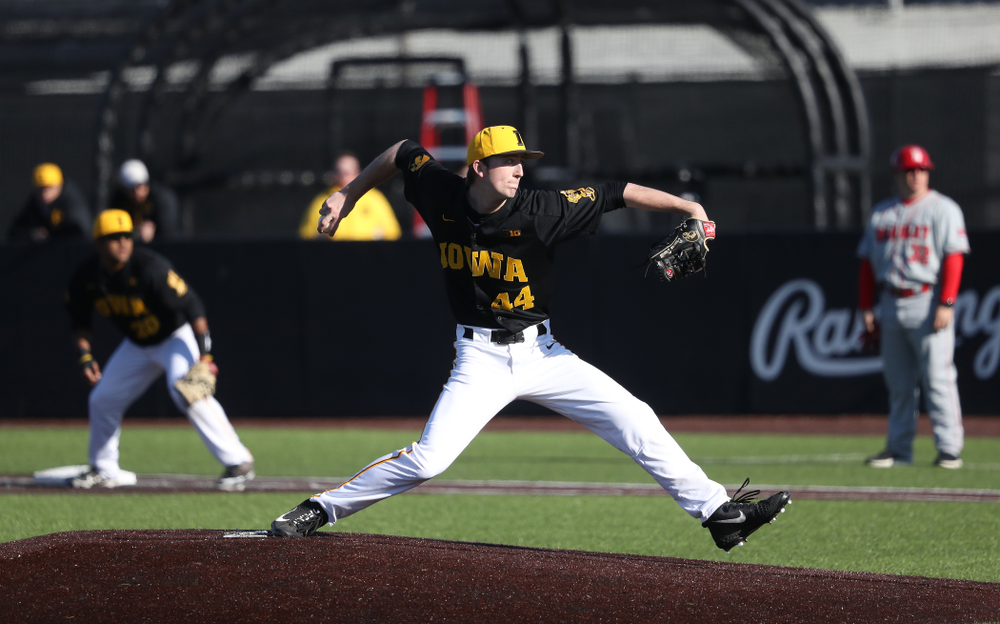 Iowa Hawkeyes Duncan Davitt (44) against the Bradley Braves Tuesday, March 26, 2019 at Duane Banks Field. (Brian Ray/hawkeyesports.com)