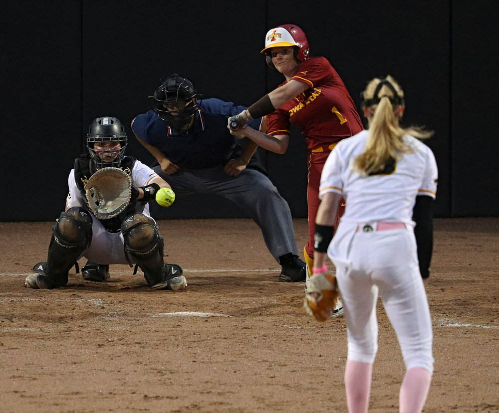 Iowa pitcher Allison Doocy (3) delivers to catcher Abby Lien (9) for a strikeout during the sixth inning of their game against Iowa State at Pearl Field in Iowa City on Tuesday, Apr. 9, 2019. (Stephen Mally/hawkeyesports.com)
