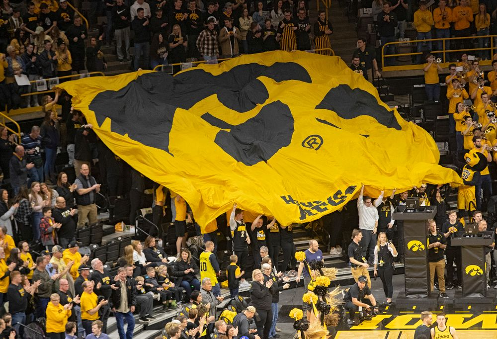 The Hawks Nest celebrates before the game at Carver-Hawkeye Arena in Iowa City on Saturday, February 8, 2020. (Stephen Mally/hawkeyesports.com)