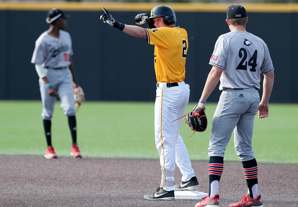 Iowa Hawkeyes second baseman Brendan Sher (2) celebrates on second base after hitting a double during the third inning of their game against Northern Illinois at Duane Banks Field in Iowa City on Tuesday, Apr. 16, 2019. (Stephen Mally/hawkeyesports.com)