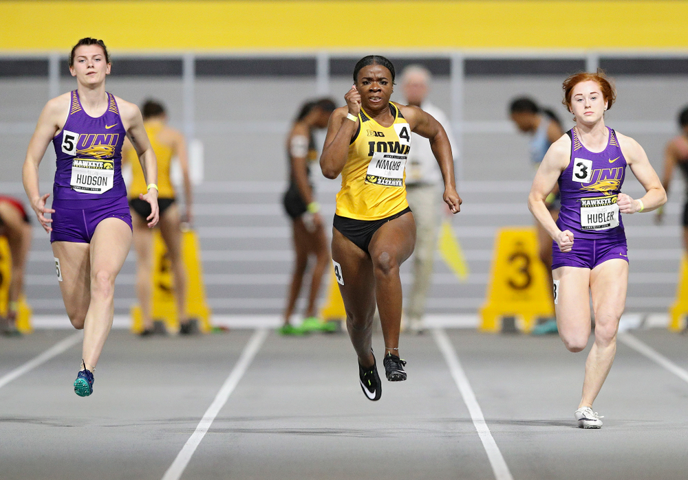Iowa's Traci Brown runs in the women's 60 meter dash prelim event during the Hawkeye Invitational at the Recreation Building in Iowa City on Saturday, January 11, 2020. (Stephen Mally/hawkeyesports.com)
