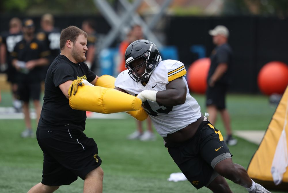 Iowa Hawkeyes defensive end Brandon Simon (93) during practice No. 4 of Fall Camp Monday, August 6, 2018 at the Hansen Football Performance Center. (Brian Ray/hawkeyesports.com)