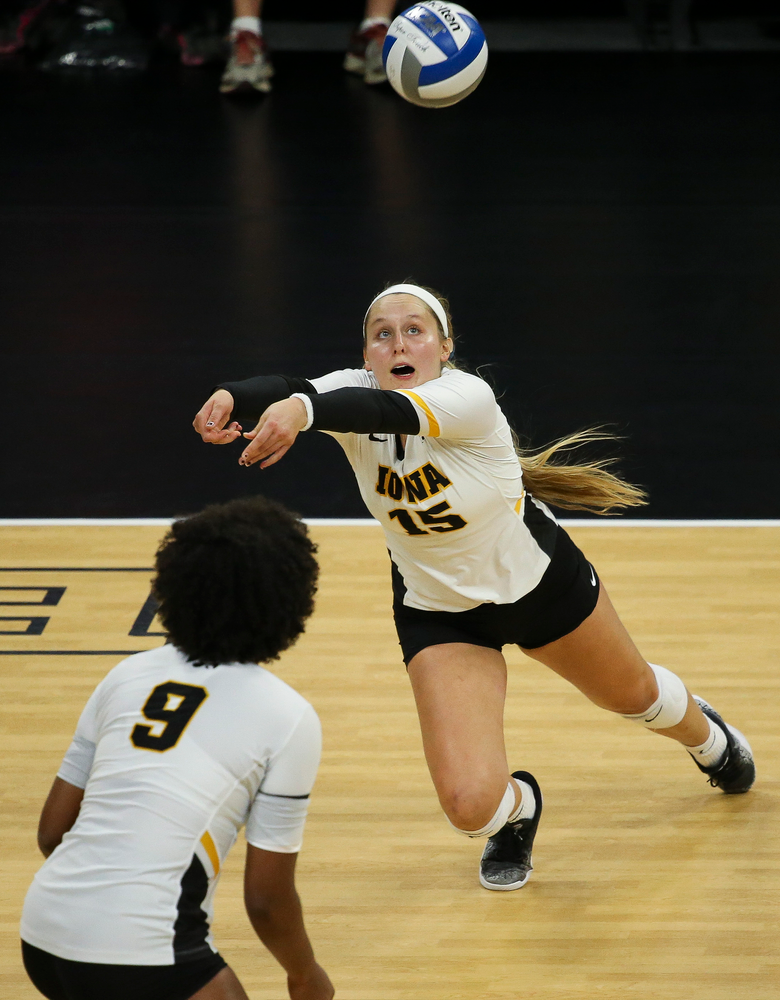 Iowa Hawkeyes defensive specialist Maddie Slagle (15) bumps the ball during a game against Purdue at Carver-Hawkeye Arena on October 13, 2018. (Tork Mason/hawkeyesports.com)