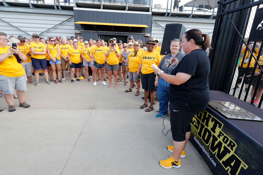 Head Coach Lisa Cellucci speaks during an alumni event following the Iowa Hawkeyes game against Indiana Sunday, September 16, 2018 at Grant Field. (Brian Ray/hawkeyesports.com)