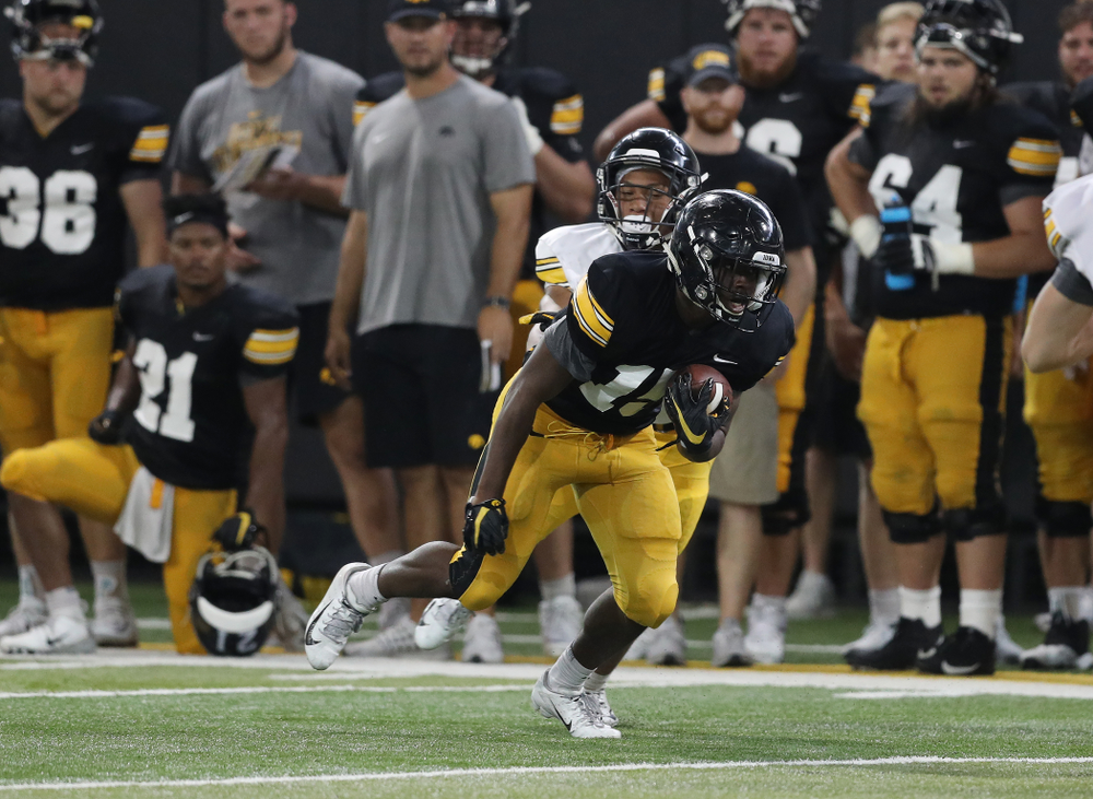 Iowa Hawkeyes running back Tyler Goodson (15) during Fall Camp Practice No. 6 Thursday, August 8, 2019 at the Ronald D. and Margaret L. Kenyon Football Practice Facility. (Brian Ray/hawkeyesports.com)