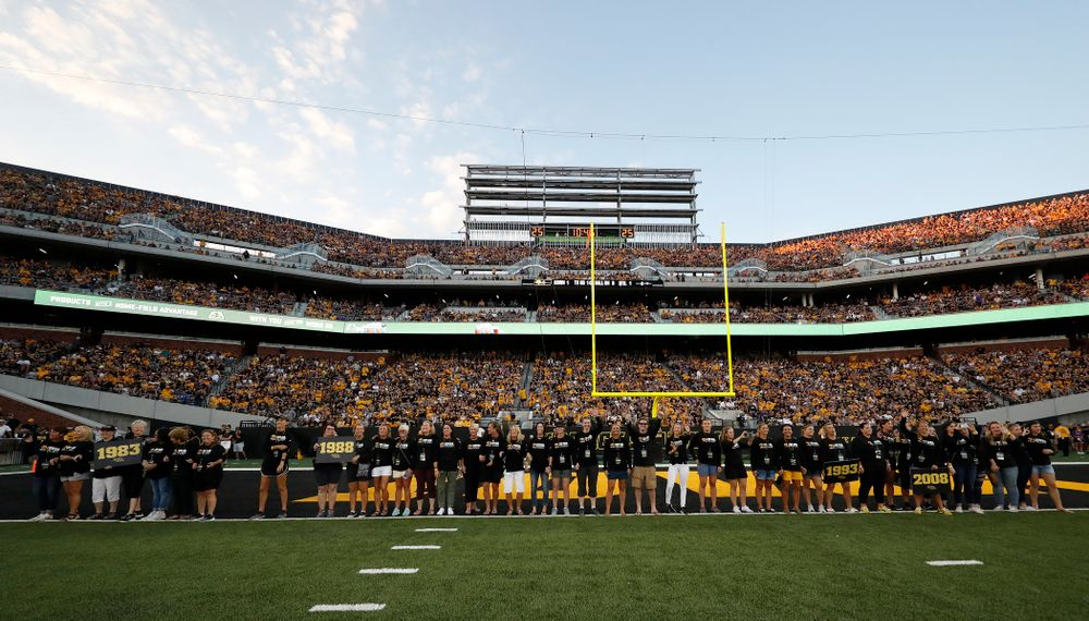 Alumni from the Iowa Field Hockey team are introduced during the Iowa Hawkeyes against the Northern Iowa Panthers Saturday, September 15, 2018 at Kinnick Stadium. (Brian Ray/hawkeyesports.com)
