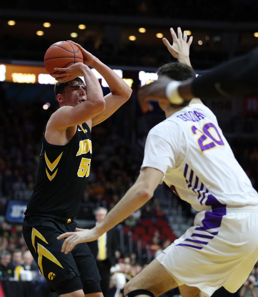 Iowa Hawkeyes forward Luka Garza (55) against the Northern Iowa Panthers in the Hy-Vee Classic Saturday, December 15, 2018 at Wells Fargo Arena in Des Moines. (Brian Ray/hawkeyesports.com)