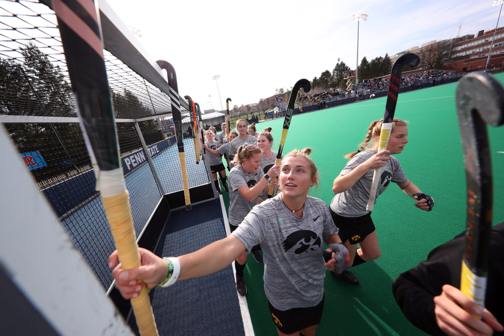 The Iowa Hawkeyes before their game against Penn State in the 2019 Big Ten Field Hockey Tournament Championship Game Sunday, November 10, 2019 in State College. (Brian Ray/hawkeyesports.com)