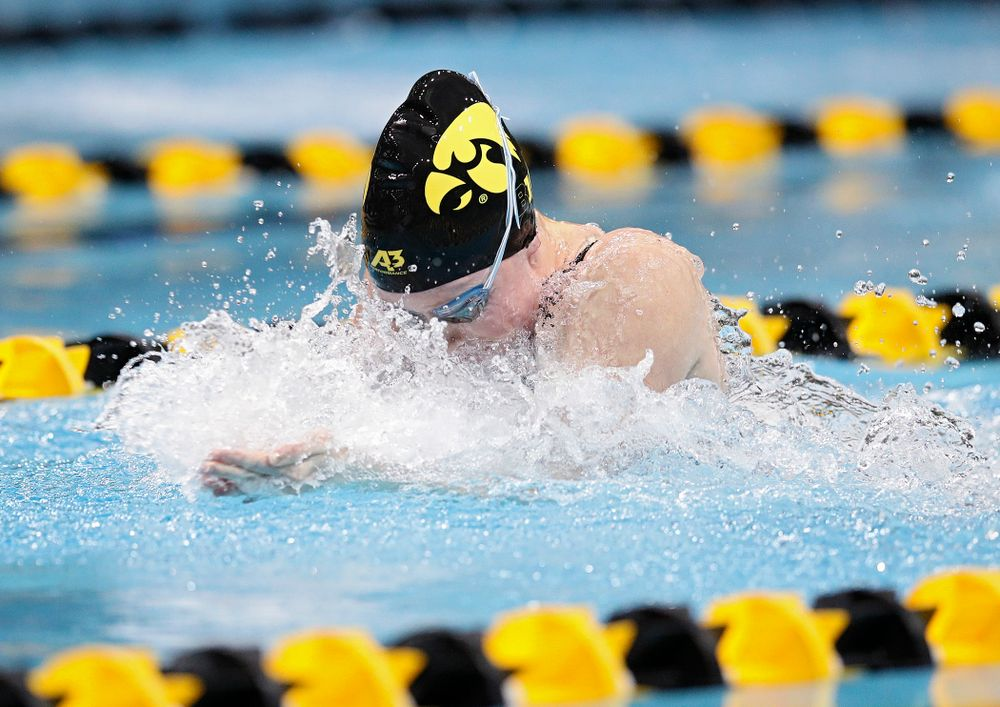 Iowa's Paige Hanley swims the women's 50 yard breaststroke event during their meet at the Campus Recreation and Wellness Center in Iowa City on Friday, February 7, 2020. (Stephen Mally/hawkeyesports.com)