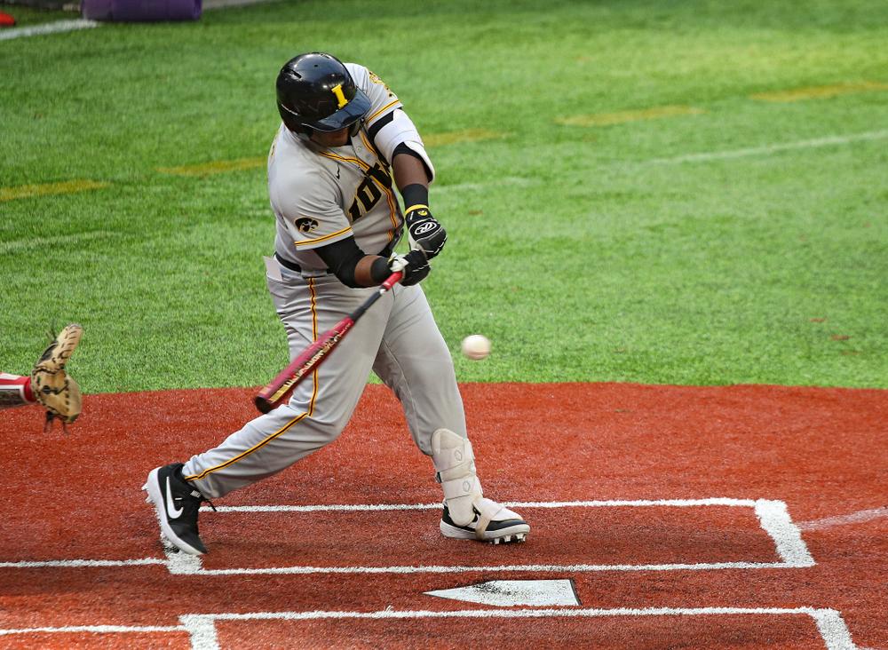 Iowa Hawkeyes infielder Izaya Fullard (20) bats during the first inning of their CambriaCollegeClassic game at U.S. Bank Stadium in Minneapolis, Minn. on Friday, February 28, 2020. (Stephen Mally/hawkeyesports.com)