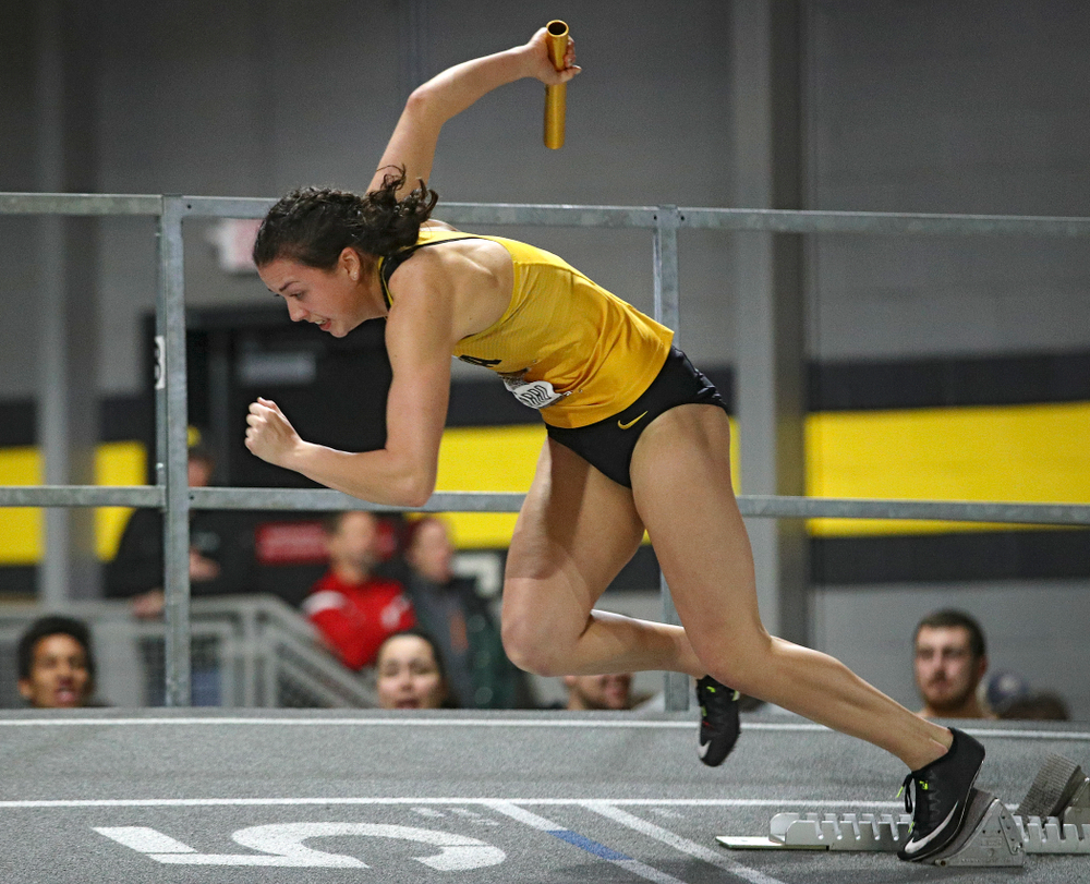 Iowa's Jenny Kimbro runs the women's 1600 meter relay premier event during the Larry Wieczorek Invitational at the Recreation Building in Iowa City on Saturday, January 18, 2020. (Stephen Mally/hawkeyesports.com)