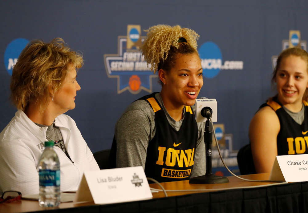 Iowa Hawkeyes forward Chase Coley (4) answers questions from the media during a news conference Friday, March 16, 2018 at Pauley Pavilion on the campus of UCLA. (Brian Ray/hawkeyesports.com)