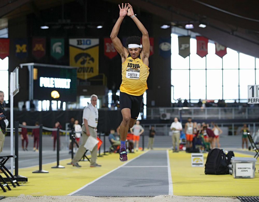 Iowa's James Carter competes in the men's triple jump event during the Larry Wieczorek Invitational at the Recreation Building in Iowa City on Saturday, January 18, 2020. (Stephen Mally/hawkeyesports.com)