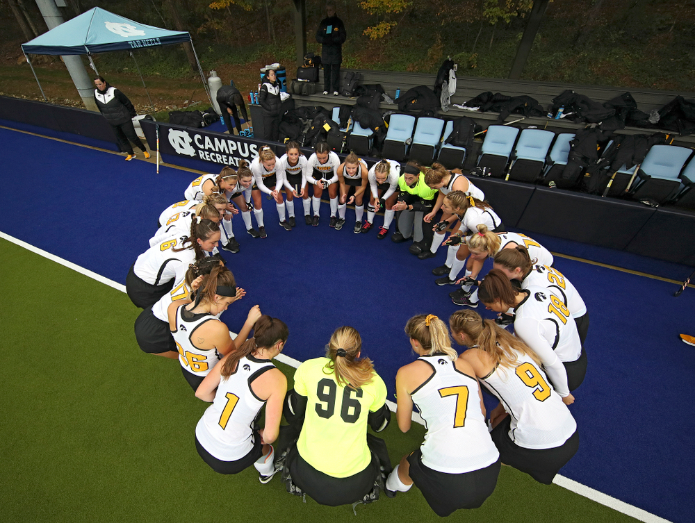 The Hawkeyes huddle before their NCAA Tournament First Round match against Duke at Karen Shelton Stadium in Chapel Hill, N.C. on Friday, Nov 15, 2019. (Stephen Mally/hawkeyesports.com)