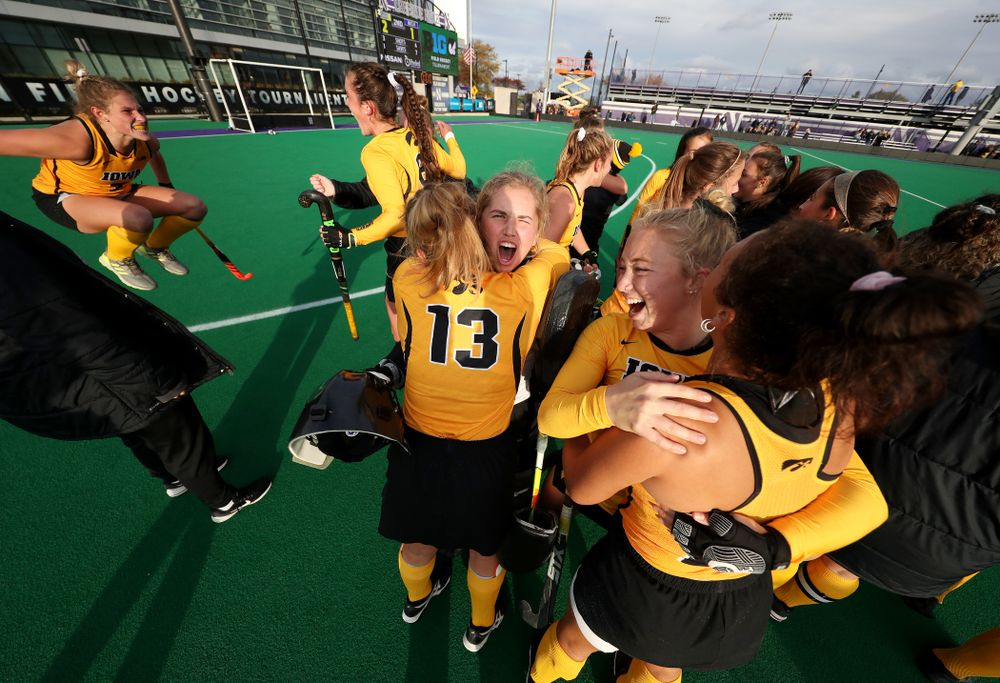Iowa Hawkeyes Leslie Speight (96) celebrates their 2-1 victory over the Michigan Wolverines in the semi-finals of the Big Ten Tournament Friday, November 2, 2018 at Lakeside Field on the campus of Northwestern University in Evanston, Ill. (Brian Ray/hawkeyesports.com)