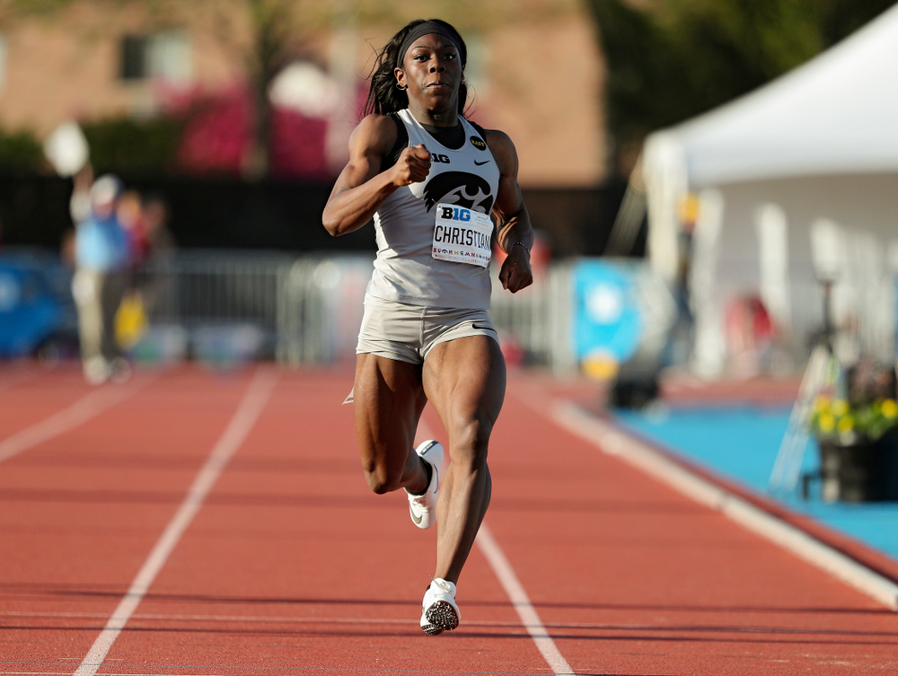 Iowa's Antonise Christian runs the women's 200 meter dash event on the first day of the Big Ten Outdoor Track and Field Championships at Francis X. Cretzmeyer Track in Iowa City on Friday, May. 10, 2019. (Stephen Mally/hawkeyesports.com)