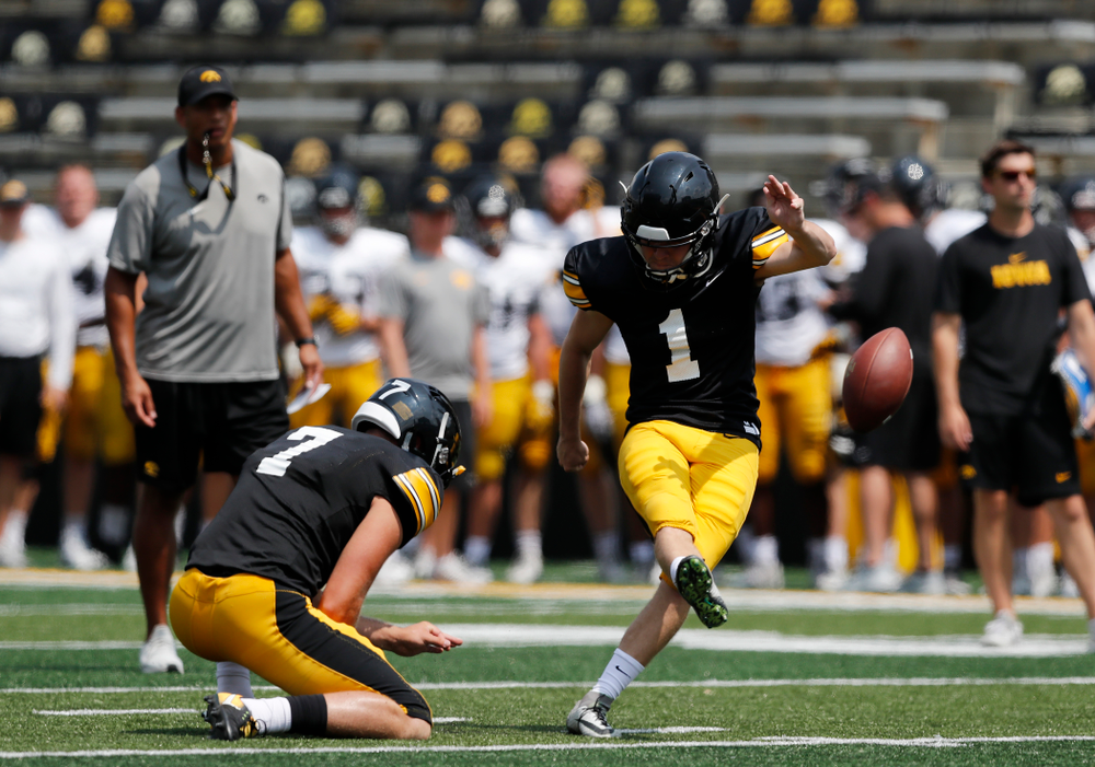 Iowa Hawkeyes place kicker Keith Duncan (1) during Kids Day Saturday, August 11, 2018 at Kinnick Stadium. (Brian Ray/hawkeyesports.com)