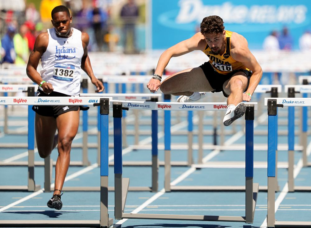 Iowa's Josh Braverman runs the men's 110 meter hurdles event during the second day of the Drake Relays at Drake Stadium in Des Moines on Friday, Apr. 26, 2019. (Stephen Mally/hawkeyesports.com)