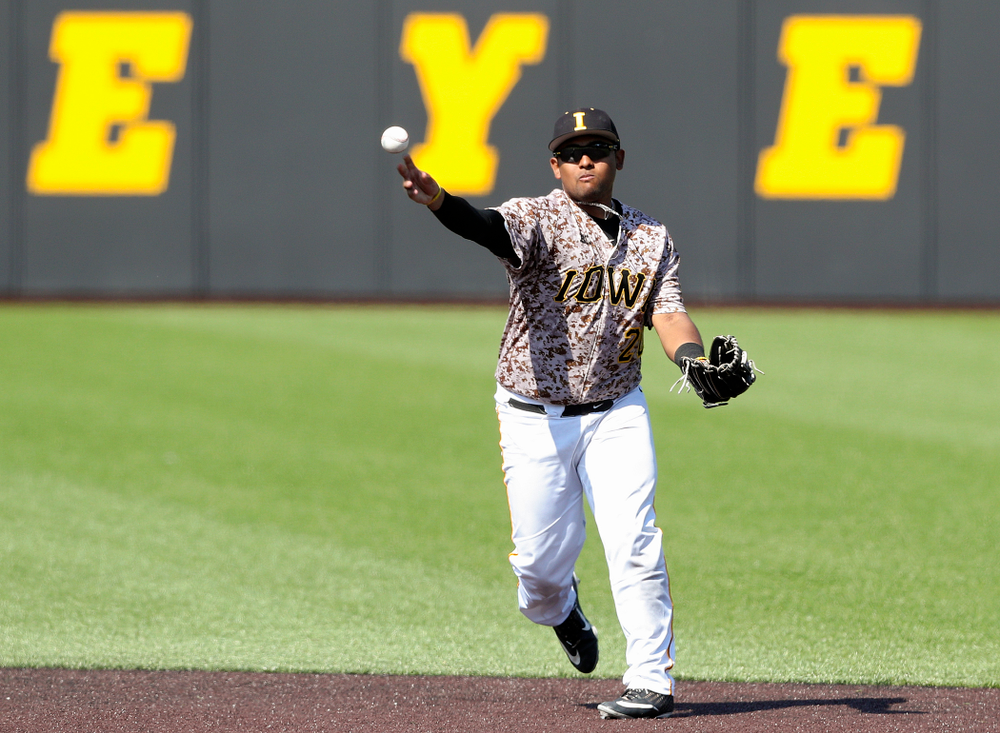 Iowa Hawkeyes second baseman Izaya Fullard (20) throws during the sixth inning of their game against UC Irvine at Duane Banks Field in Iowa City on Sunday, May. 5, 2019. (Stephen Mally/hawkeyesports.com)
