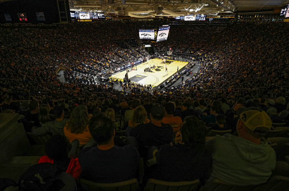 A sellout watches the first half of their the Hawkeyes game at Carver-Hawkeye Arena in Iowa City on Sunday, December 29, 2019. (Stephen Mally/hawkeyesports.com)