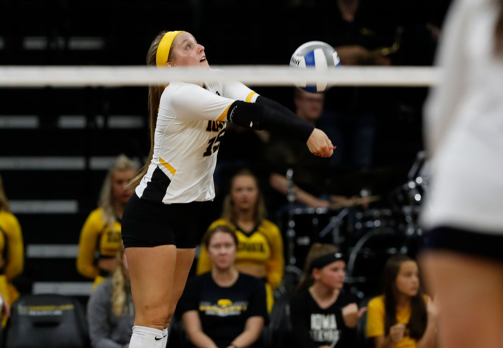 Iowa Hawkeyes defensive specialist Maddie Slagle (15) against the Michigan Wolverines Sunday, September 23, 2018 at Carver-Hawkeye Arena. (Brian Ray/hawkeyesports.com)
