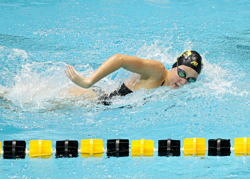 Iowa's Macy Rink swims the women's 200-yard freestyle event during their meet against Michigan State and Northern Iowa at the Campus Recreation and Wellness Center in Iowa City on Friday, Oct 4, 2019. (Stephen Mally/hawkeyesports.com)