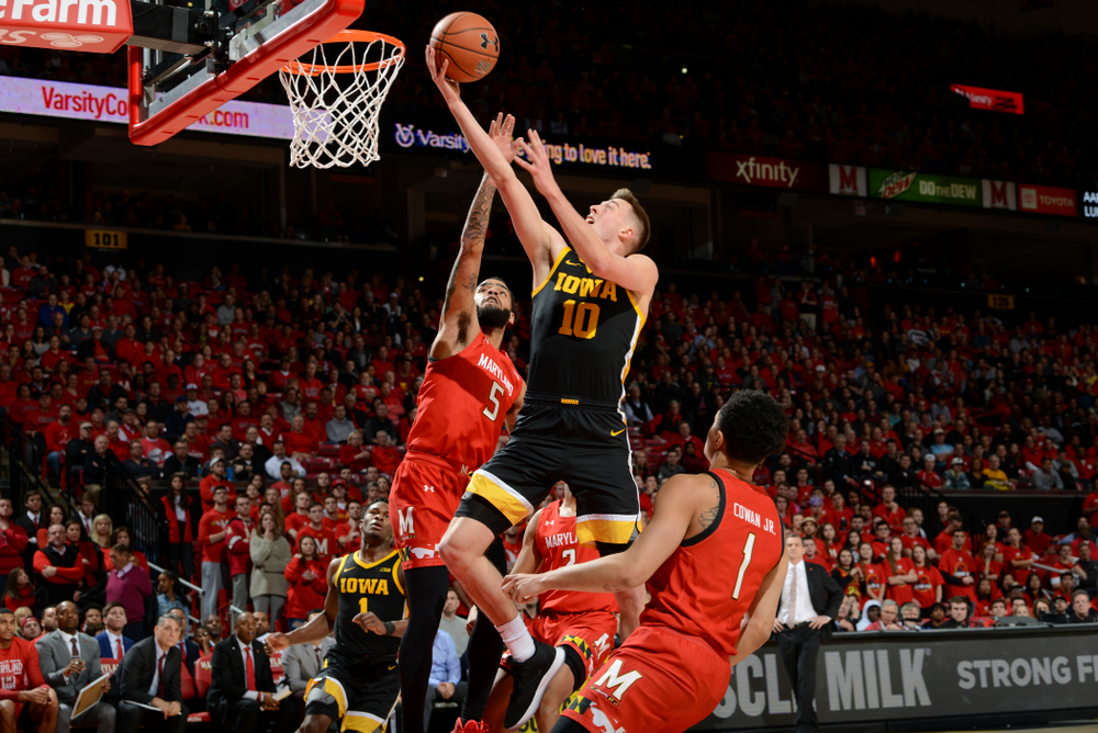 Iowa Hawkeyes guard Joe Wieskamp (10) puts up a shot during their game at the Xfinity Center in College Park, MD on Thursday, January 30, 2020. (University of Maryland Athletics)